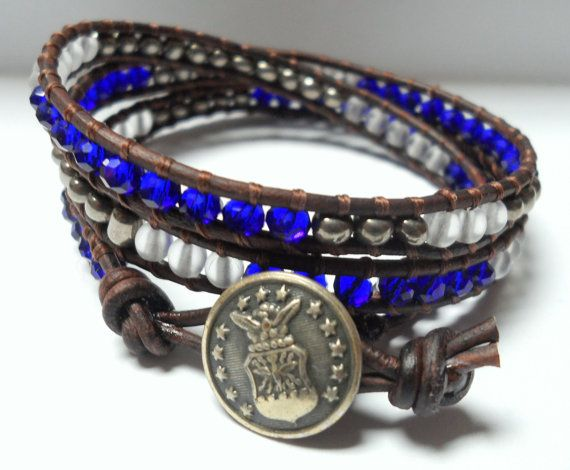 Air Force Triple Wrap Bracelet Donate to by JennyPennyCreations, $45.00