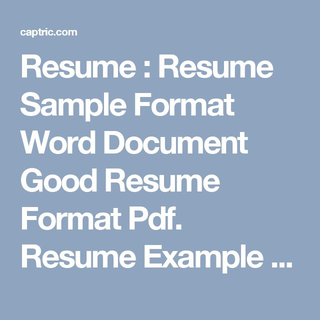 What does a good resume resume