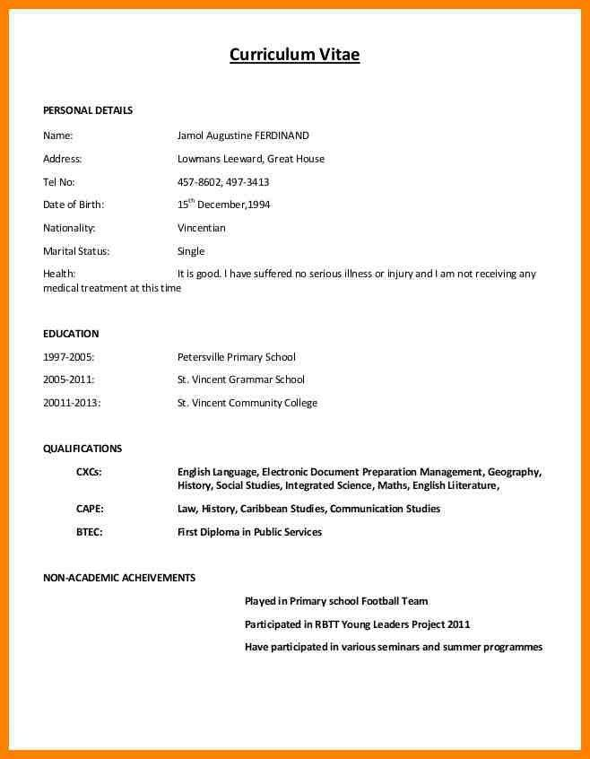 Resume Format Normal Resume Format Resume Format For Freshers