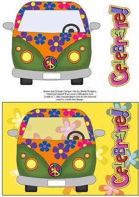 Green and Orange Camper Van on Craftsuprint - Add To Basket!
