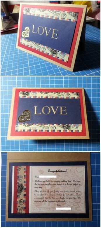 Travel themed handmade wedding card - Han-crafted (c)