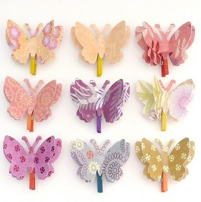 I love these butterflies. Could wear them like flowers and use up some of my paper!!!