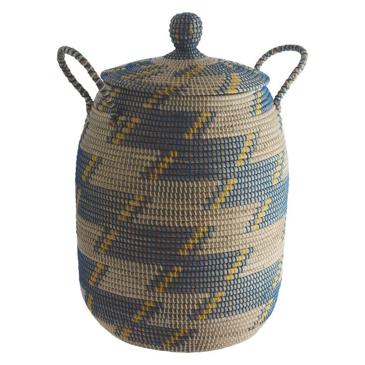 ADDER Blue seagrass laundry basket with lid