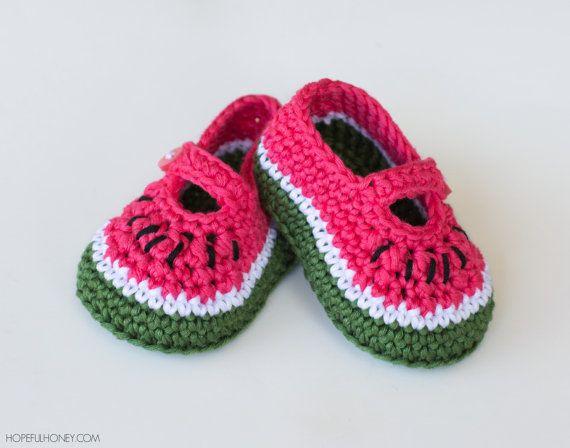 CROCHET PATTERN  Watermelon Baby Booties by HopefulHoneyDesigns