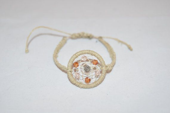 Dream Catcher Bracelet with a Flower Bead and by KnotTreasures
