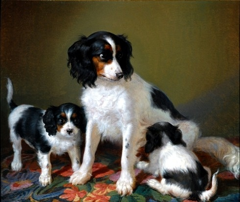 'A Spaniel with Two Puppies' by Filippo Palizzi, Italian painter, 1818-1899