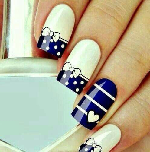 Blue and white dots and stripes