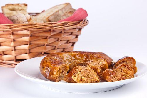 Alheira assada com pão de Gimonde