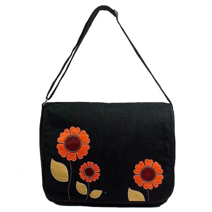 Morning Glory Black Canvas Bag