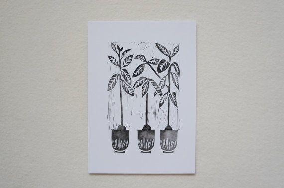#Avocado Tree Plant #BlockPrint House Plants Exotic by JessicaYeong