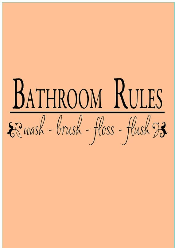 Bathroom rules vinyl wall decal quote quotes for the for Bathroom quote ideas