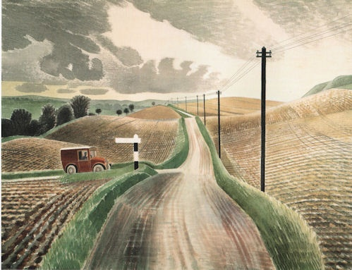 The road goes ever onward. Eric Ravilious, The Red Van.