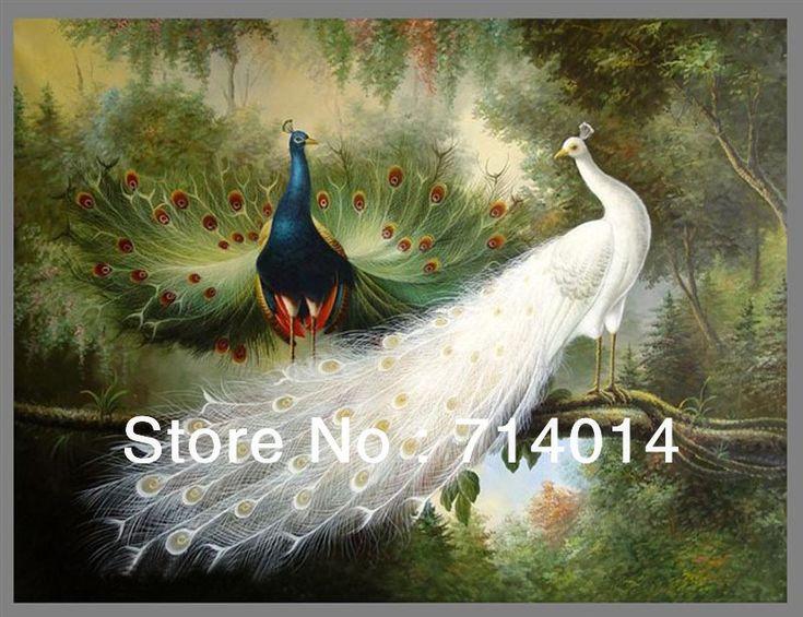 Frete grátis! Alta qualidade moderna pavão pintura a óleo sobre tela de arte da pintura a óleo