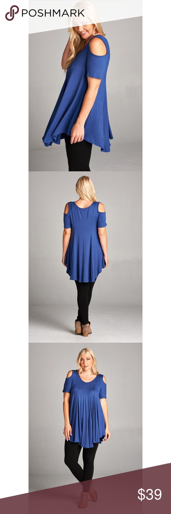Just In- Plus Size Open Shoulder Tunic Top Just In for spring/summer! Chic and comfortable plus size cold shoulder cutout tunic top. Gorgeous royal blue color. Pair with leggings or skinnies. 95% soft and smooth Rayon, 5% Spandex. Made in the U.S.A. Available in sizes 1XL, 2XL, and 3XL. Brand new. Price is firm unless bundled. тнαик уσυ  Tops Tunics