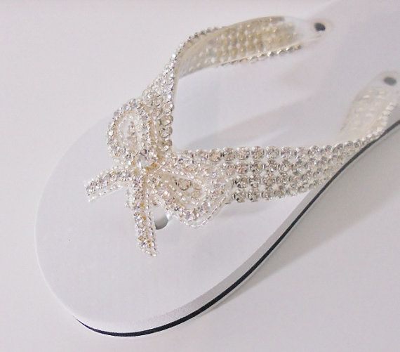 Wedding+Flip+Flops+Rhinestone+Sandals+with+by+LostPemberlyDesigns,+$40.00