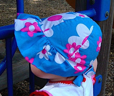 A free baby bonnet sun hat tutorial, for 6-12 month but with an adjustable ribbon should fit now.