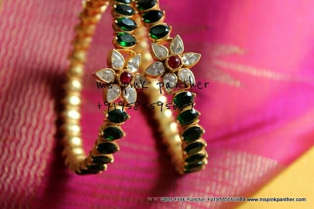 Gold Plated Bangle With Green Stones, Gold Plated Green Stone Bangles.