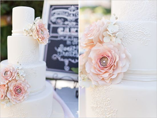 Gorgeous pink and white wedding cake. Lace inspired. #sugarflowers #weddingcake by Sugar Suite