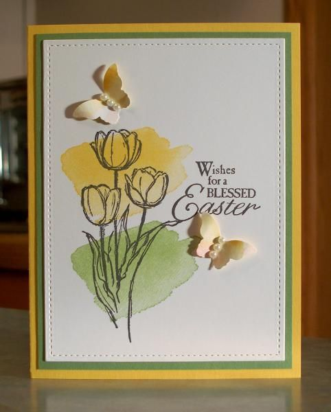 Blessed Easter Watercolor Tulips & Butterflies by Sylvaqueen - Cards and Paper Crafts at Splitcoaststampers