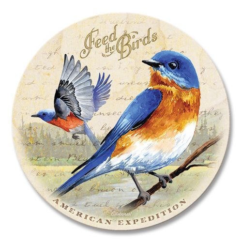 Single Bluebird Vintage Stone Coaster