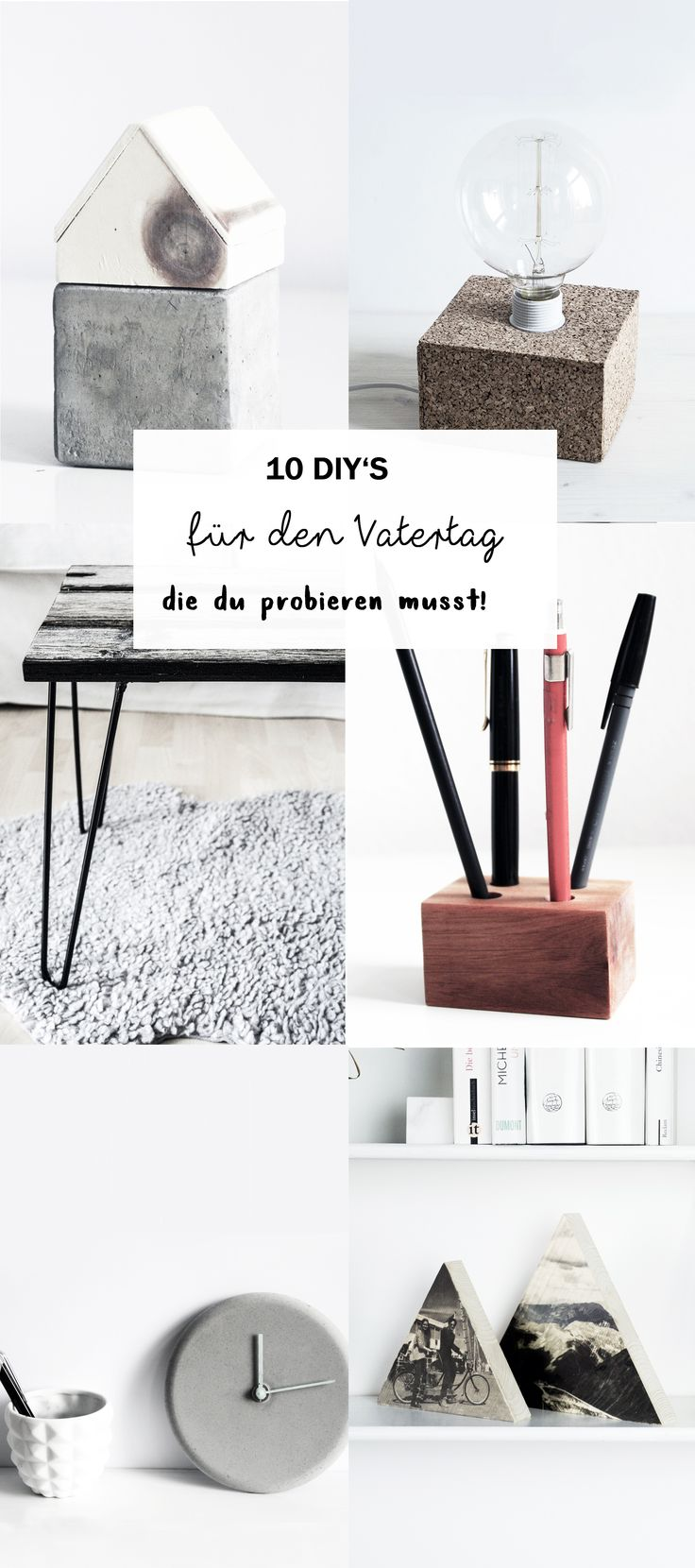 Vatertagsgeschenk basteln: Auf dem Blog findet ihr 10 kreative DIY Geschenkideen, die ihr ganz einfach selber machen könnt! Lasst euch inspirieren von Geschenken aus Holz, Beton oder Kork. Werdet Kreativ und gestaltet das Geschenk für euren Vater dieses Jahr einfach selbst! Alle ausführlichen Anleitungen für Stiftehalter, Foto aus Holz, Tisch, Lampe, Uhr und vieles mehr findet ihr auf schereleimpapier.de!