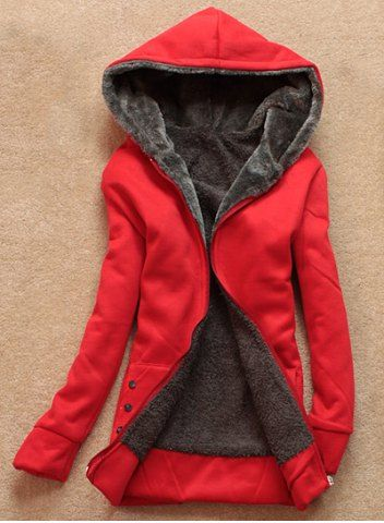 Stylish Long Sleeves Solid Color Flocking Hooded Hoodie For WomenSweatshirts & Hoodies   RoseGal.com