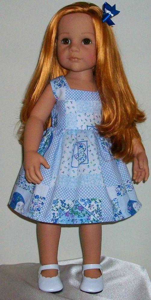 "Vintagebaby hearts dress & hair bow fits 18-20"" dolls Designafriend/Gotz hannah"