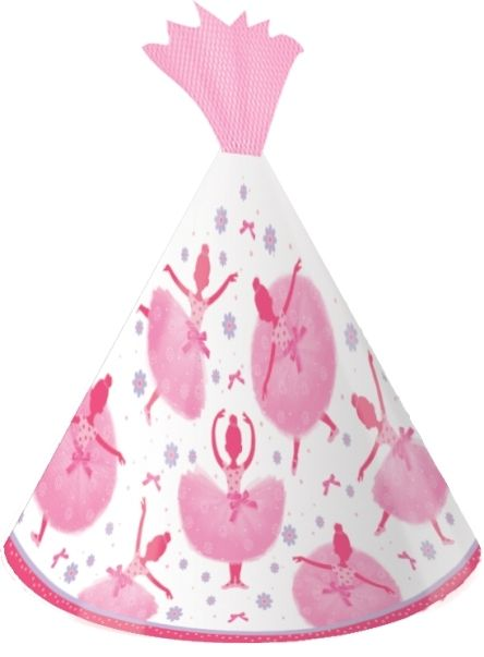 Tutu Much Fun Ballerina Child Party Hats With Tulle Pink White - 8 Pack