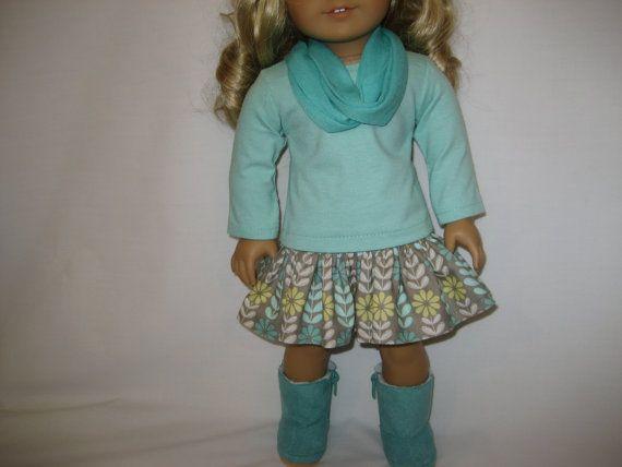 American Girl Doll Clothes Aqua and Gray Skirt by lotsofdots