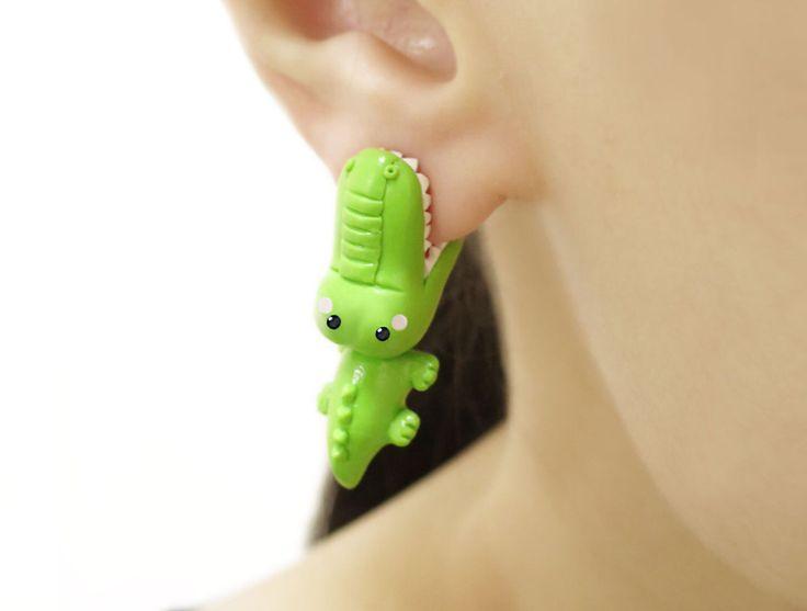 Cute crocodile bite earring, polymer clay animal earring, cute animal earring, bite earring by tinyclaymade on Etsy https://www.etsy.com/au/listing/256556643/cute-crocodile-bite-earring-polymer-clay