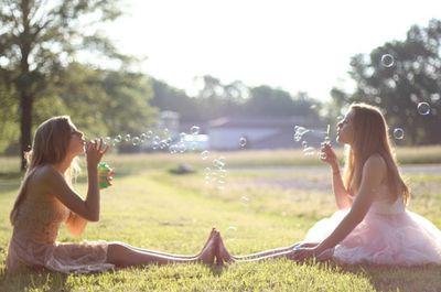 blowing bubbles, bubbles, friends, girl, girls