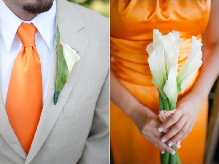 Orange Bridesmaids Dresses & White Flowers, Men Wear Orange Ties!