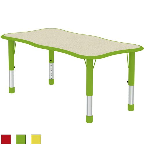 48 Wave Rectangle Shape Adjustable Height Safety Corner Table