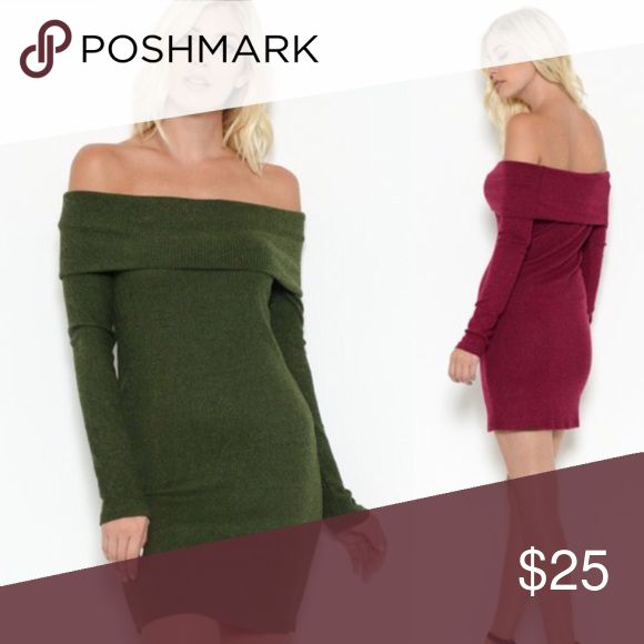Holiday Dress green burgundy off the shoulder sexy 🚩🚩🚩Weekend special: $25 🚩🚩🚩  🎄🎁❄️this is the sexiest holiday party dress ever! Off the shoulder & oh so trendy! ❄️🎁🎄  📏Fits true to size & has stretch.   Pick color  in closet (there are 2 listings.   ❤️❤️This is for RED❤️❤️ wear in la Dresses Mini