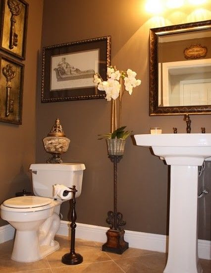 Powder Room painted in a Tea Chest Brown by Sherwin Williams. #SW6103