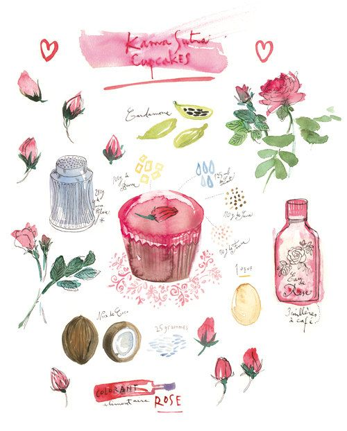 Valentine print Kama Sutra Cupcake Recipe Kitchen art Love Watercolor food illustration 8x10 Bakery poster Pink. $25.00, via Etsy.