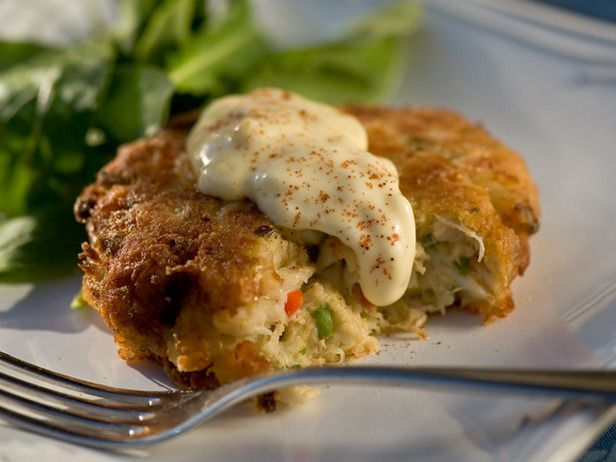 Crab cake recipe from Paula Deen. These are delicious, especially if you sub the bell pepper for something with more kick.