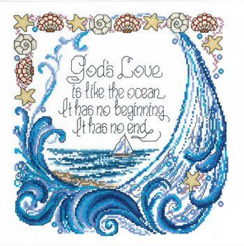 Religious Cross Stitch Patterns - God's love is like the ocean, it has no beginning, it has no end