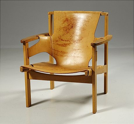 Carl-Axel Acking; Oak and Leather 'Trienna' Chair, c1957.
