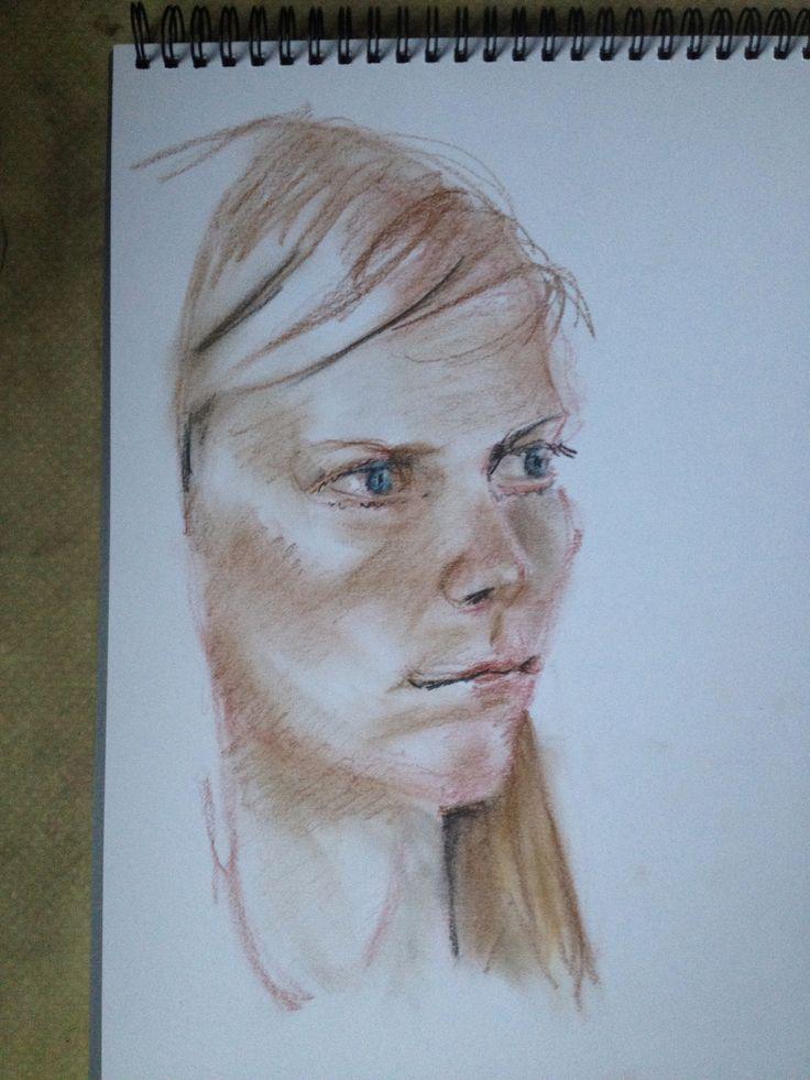 Art class model - Julia - Sep 2014. Pastels. 45 minute special.