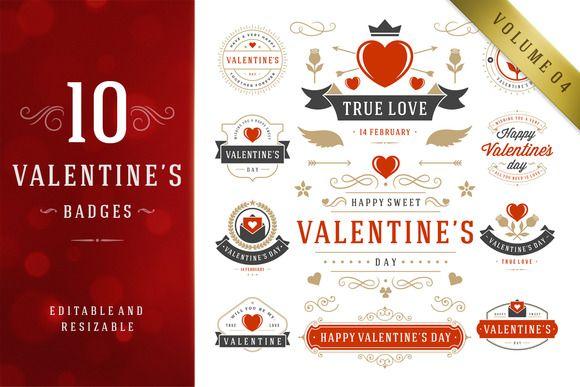 Valentine's Day Logo Badges & Labels by Vasya Kobelev on Creative Market