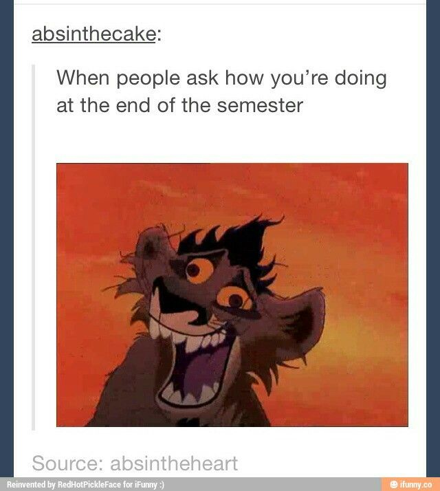 When people ask how you're doing at the end of the semester - Lion King 2 // Definitely me
