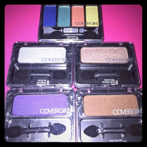 ⚡️SALE⚡️Covergirl Eyeshadow Bundle Covergirl Eyeshadow Bundle. Buyer will receive (1) eyeshadow quad in tropical fusion. (1) Sterling blue, (1) Tapestry taupe, (1) Swiss chocolate, (1) Purple pop. All new products. Unopened. Makeup Eyeshadow