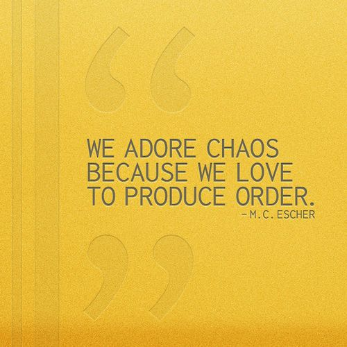 """We adore chaos becaus we love to produce order."" -M.C. Escher #quote"