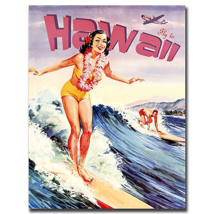 Hawaii Vintage Advertisement on Wrapped Canvas