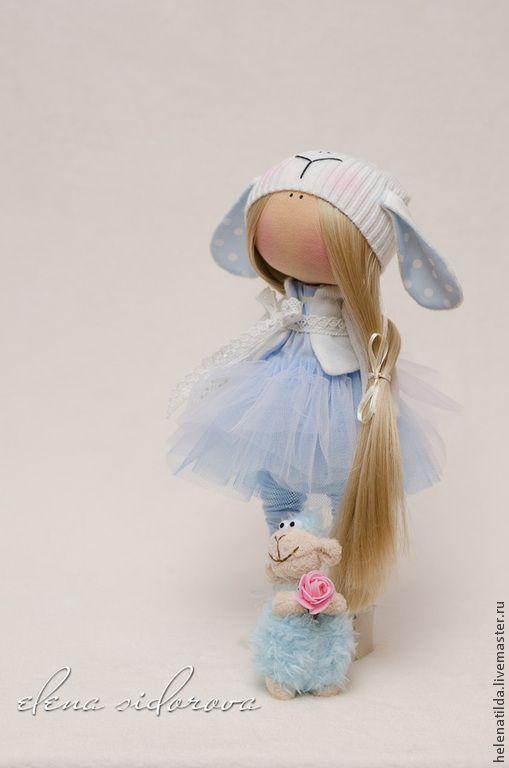 Купить Девочка-овечка в голубом - голубой, кремовый, белый, куколка, новый год 2015, подарок, овечка