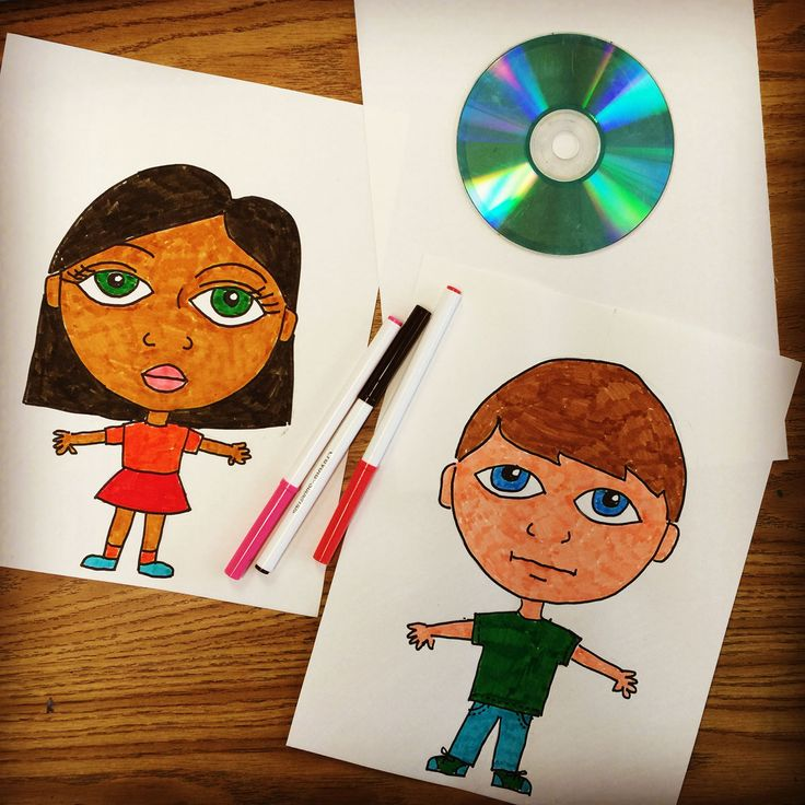 Start with tracing a CD to make a silly Big Headed Kid drawing.