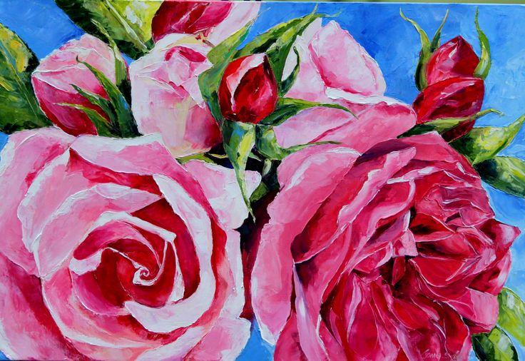 Roses,Palette knife oil on stretched canvas    91 x 61 cm.