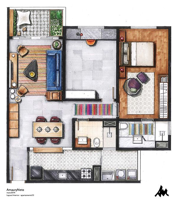 Apartamento53 by Amaury Neto, via Behance ~ Great pin! For Oahu architectural design visit http://ownerbuiltdesign.com
