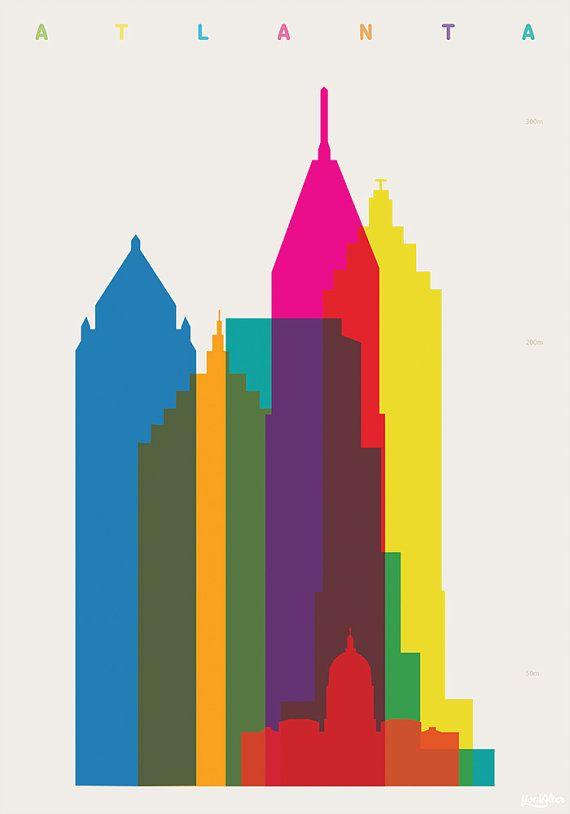Shapes of Atlanta art print LOVE the color layering